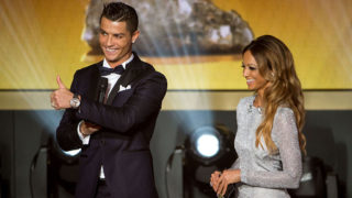 ZURICH, SWITZERLAND - JANUARY 11: FIFA Ballon d'Or nominee Cristiano Ronaldo of Portugal and Real Madrid and presenter Kate Abdo look on during the FIFA Ballon d'Or Gala 2015 at the Kongresshaus on January 11, 2016 in Zurich, Switzerland. (Photo by Philipp Schmidli/Getty Images)