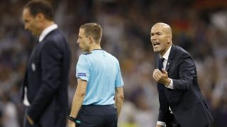 (L-R) coach Massimiliano Allegri of Juventus FC, coach Zinedine Zidane of Real Madridduring the UEFA Champions League final match between Juventus FC and Real Madrid on June 3, 2017 at the Millennium Stadium in Cardiff, Wales(Photo by VI Images via Getty Images)