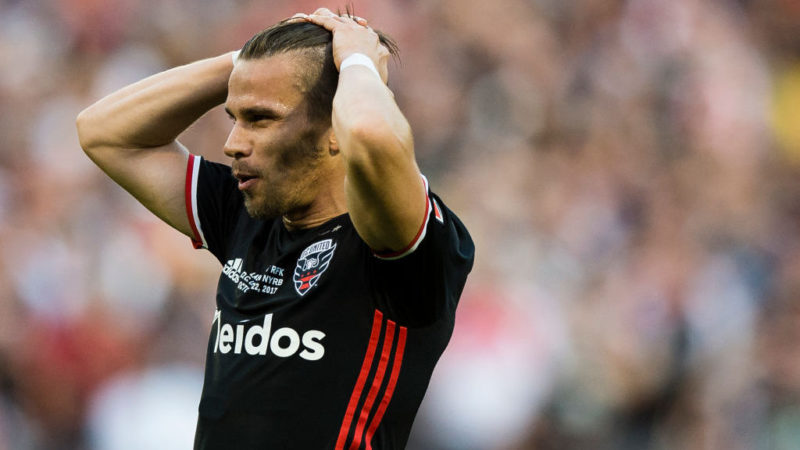 WASHINGTON, DC - OCTOBER 22: Zoltan Stieber #19 of DC United reacts against the New York Red Bulls in the second half of the final MLS game at RFK Stadium on October 22, 2017 in Washington, DC. (Photo by Patrick McDermott/Getty Images)