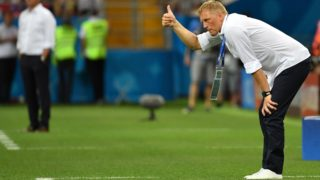 Iceland's coach Heimir Hallgrimsson gestures during the Russia 2018 World Cup Group D football match between Iceland and Croatia at the Rostov Arena in Rostov-On-Don on June 26, 2018. (Photo by PASCAL GUYOT / AFP) / RESTRICTED TO EDITORIAL USE - NO MOBILE PUSH ALERTS/DOWNLOADS