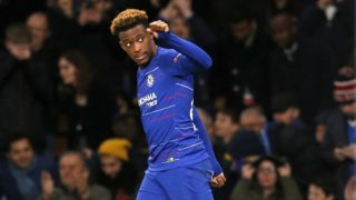 Chelsea's English midfielder Callum Hudson-Odoi celebrates after scoring their third goal during the UEFA Europa League Group L football match between Chelsea and PAOK Thessaloniki at Stamford Bridge in London on November 29, 2018. (Photo by Ian KINGTON / AFP)