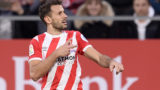 Girona's Uruguayan forward Cristhian Stuani celebrates after scoring a penalty during the Spanish league football match between Girona and Club Atletico de Madrid at the Montilivi stadium in Girona on December 2, 2018. (Photo by Josep LAGO / AFP)