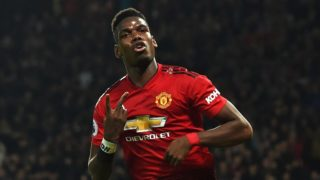 Manchester United's French midfielder Paul Pogba celebrates after scoring his and their second goal during the English Premier League football match between Manchester United and Bournemouth at Old Trafford in Manchester, north west England, on December 30, 2018. (Photo by Paul ELLIS / AFP) / RESTRICTED TO EDITORIAL USE. No use with unauthorized audio, video, data, fixture lists, club/league logos or 'live' services. Online in-match use limited to 120 images. An additional 40 images may be used in extra time. No video emulation. Social media in-match use limited to 120 images. An additional 40 images may be used in extra time. No use in betting publications, games or single club/league/player publications. /