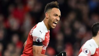 Arsenal's Gabonese striker Pierre-Emerick Aubameyang celebrates scoring his team's fourth goal during the English Premier League football match between Arsenal and Fulham at the Emirates Stadium in London on January 1, 2019. - Arsenal won the match 4-1. (Photo by Glyn KIRK / AFP) / RESTRICTED TO EDITORIAL USE. No use with unauthorized audio, video, data, fixture lists, club/league logos or 'live' services. Online in-match use limited to 120 images. An additional 40 images may be used in extra time. No video emulation. Social media in-match use limited to 120 images. An additional 40 images may be used in extra time. No use in betting publications, games or single club/league/player publications. /