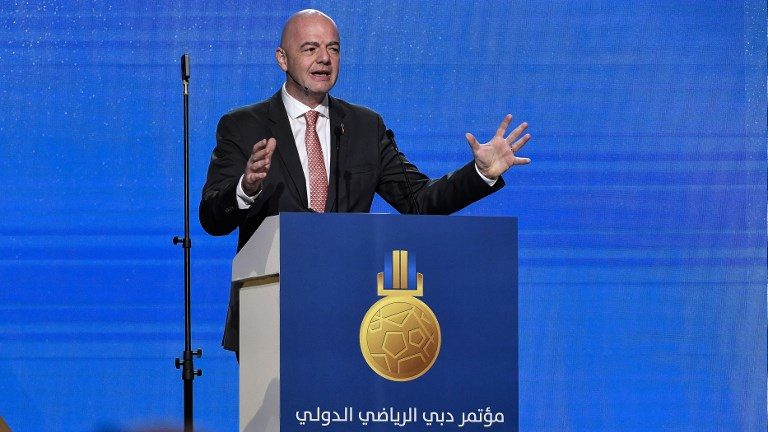 FIFA president Gianni Infantino speaks during a session of the 13th edition of the Dubai International Sports Conference, at Madinat Jumeirah in Dubai on January 2, 2019. (Photo by Marco ALPOZZI / La Presse / AFP) / Italy OUT - China OUT