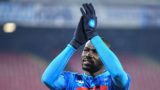 Napoli's Senegalese defender Kalidou Koulibaly acknowledges the public at the end of the Italian Tim Cup round of sixteen football match Napoli vs Sassuolo on January 13, 2019 at the San Paolo stadium in Naples. (Photo by Alberto PIZZOLI / AFP)