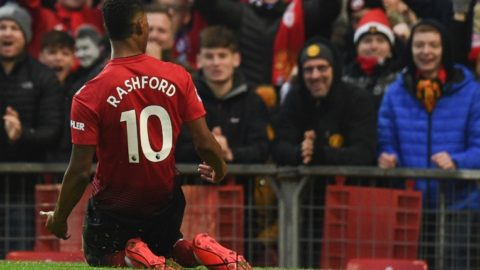 Manchester United's English striker Marcus Rashford celebrates scoring their second goal during the English Premier League football match between Manchester United and Brighton and Hove Albion at Old Trafford in Manchester, north west England, on January 19, 2019. (Photo by Oli SCARFF / AFP) / RESTRICTED TO EDITORIAL USE. No use with unauthorized audio, video, data, fixture lists, club/league logos or 'live' services. Online in-match use limited to 120 images. An additional 40 images may be used in extra time. No video emulation. Social media in-match use limited to 120 images. An additional 40 images may be used in extra time. No use in betting publications, games or single club/league/player publications. /