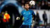 Real Madrid's goalkeeper Kiko Casilla warms up prior to the UEFA Champions League quarter-final, first-leg football match between VfL Wolfsburg and Real Madrid on April 6, 2016 in Wolfsburg, northern Germany. (Photo by ODD ANDERSEN / AFP)