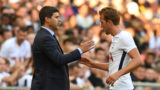 Tottenham Hotspur's English striker Harry Kane (R) gestures to Tottenham Hotspur's Argentinian head coach Mauricio Pochettino as he leaves the pitch during the pre-season friendly football match between Tottenham Hotspur and Juventus at Wembley stadium in London on August 5, 2017. (Photo by OLLY GREENWOOD / AFP) / RESTRICTED TO EDITORIAL USE. No use with unauthorized audio, video, data, fixture lists, club/league logos or 'live' services. Online in-match use limited to 75 images, no video emulation. No use in betting, games or single club/league/player publications. /