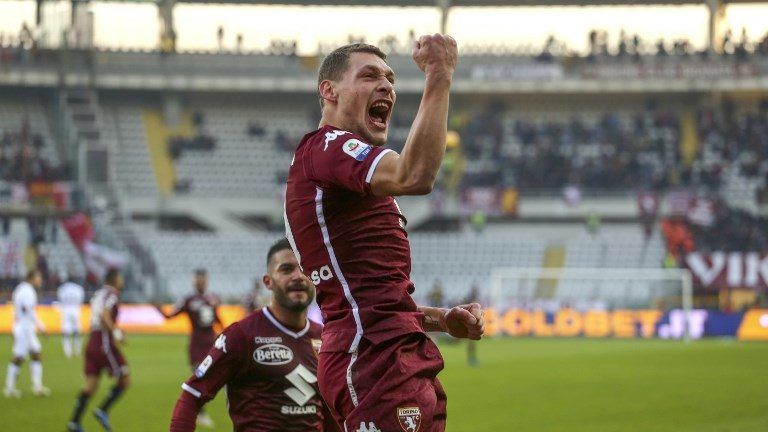 Andrea Belotti (Torino FC) celebrates after scoring the penalty of the victory during the Serie A football match between Torino FC and Genoa CFC at Olympic Grande Torino Stadium on December 02, 2018 in Turin, Italy. Torino won 2-1 over Genoa. (Photo by Massimiliano Ferraro/NurPhoto)