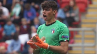 Alessandro Russo of Italy Under 17  during the UEFA Under-17 Championship Semi-Final match between Italy U17s against Belgium U17s at New York Stadium, Rotherham United FC, England on 17 May 2018.    (Photo by Kieran Galvin/NurPhoto)