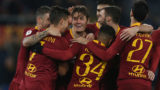 ROME, ITALY - JANUARY 14:  Patrik Schick (C) with his teammates of AS Roma celebrates after scoring the team's third goal during the Coppa Italia match between AS Roma and Entella at Olimpico Stadium on January 14, 2019 in Rome, Italy.  (Photo by Paolo Bruno/Getty Images)