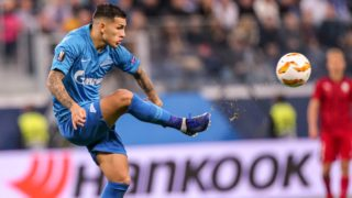 Leandro Paredes of FC Zenit Saint Petersburg vie for the ball during the Group C match of the UEFA Europa League between FC Zenit Saint Petersburg and FC Girondins de Bordeaux at Saint Petersburg Stadium on October 25, 2018 in St.Petersburg, Russia. (Photo by Igor Russak/NurPhoto)