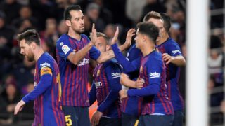 Barcelona players celebrate the opening goal during the Spanish League football match between FC Barcelona and SD Eibar at the Camp Nou stadium in Barcelona on January 13, 2019. (Photo by LLUIS GENE / AFP)