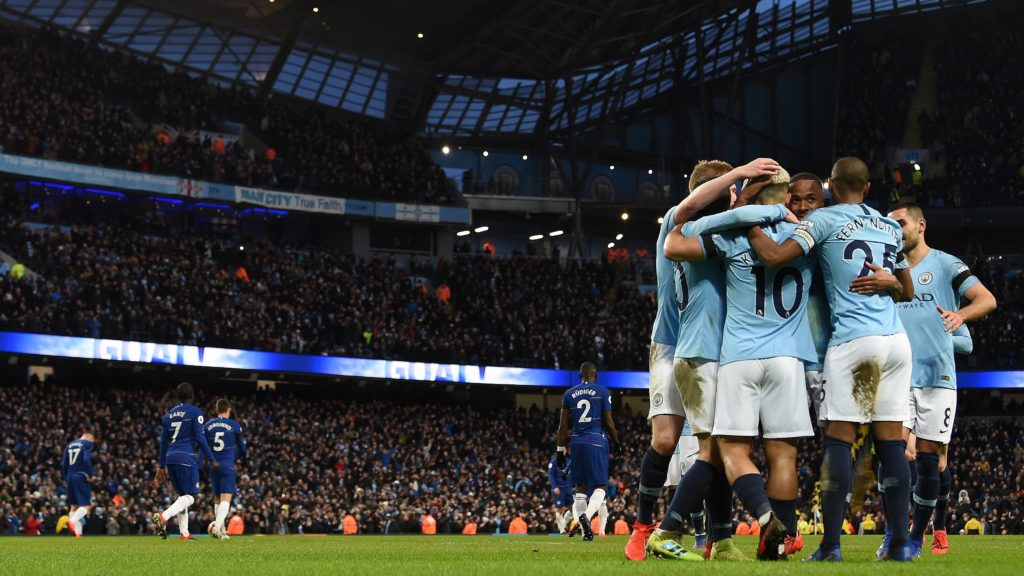 Manchester City's Argentinian striker Sergio Aguero celebrates scoring his team's fifth goal, his third, from the penalty spot during the English Premier League football match between Manchester City and Burnley at the Etihad Stadium in Manchester, north west England, on February 10, 2019. (Photo by Paul ELLIS / AFP) / RESTRICTED TO EDITORIAL USE. No use with unauthorized audio, video, data, fixture lists, club/league logos or 'live' services. Online in-match use limited to 120 images. An additional 40 images may be used in extra time. No video emulation. Social media in-match use limited to 120 images. An additional 40 images may be used in extra time. No use in betting publications, games or single club/league/player publications. /