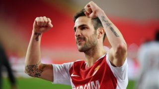 Monaco's Spanish midfielder Cesc Fabregas reacts at the end of the french L1 football match AS Monaco vs FC Nantes on February 16, 2019 at Louis II stadium in Monaco. Y (Photo by YANN COATSALIOU / AFP)