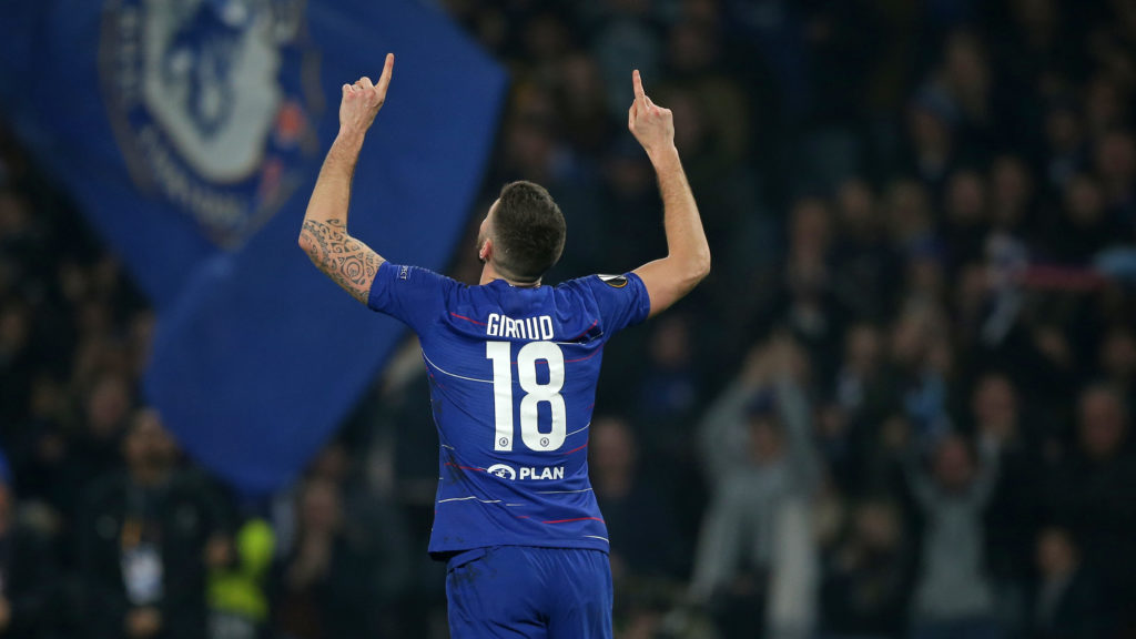 Chelsea's French striker Olivier Giroud celebrates after scoring the opening goal of the UEFA Europa League round of 32, 2nd leg football match between Chelsea and Malmo at Stamford Bridge in London on February 21, 2019. (Photo by Daniel LEAL-OLIVAS / AFP)