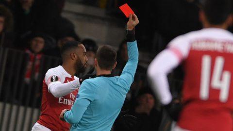 5782439 14.02.2019 Referee Srdjan Jovanovic shows a red card to Arsenal's Alexandre Lacazette during the Europa League soccer match between BATE Borisov and Arsenal London, in Borisov, Belarus. Alexey Filippov / Sputnik