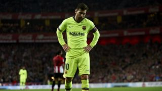 Lionel Messi of Barcelona lament a failed occasion during the week 23 of La Liga between Athletic Club and FC Barcelona at San Mames stadium on February 10 2019 in Bilbao, Spain. (Photo by Jose Breton/NurPhoto)