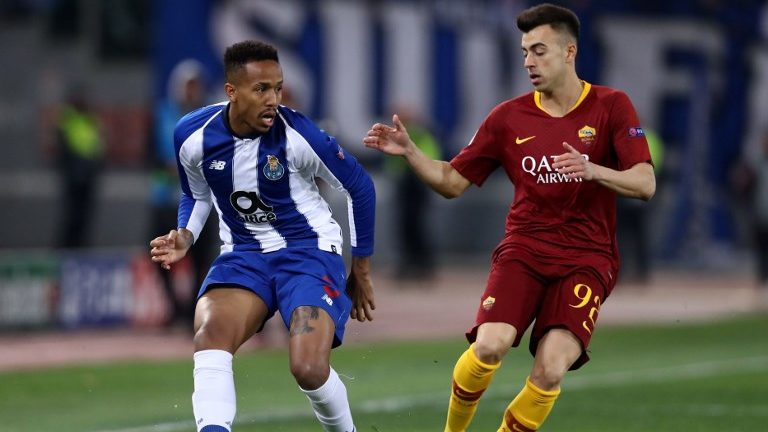 Eder Militao of Porto and Stephan El Shaarawy of Roma during the UEFA Champions League round of 16, first leg football match AS Roma and FC Porto on February 12, 2019 at the Olympic stadium in Rome, Italy.  (Photo by Matteo Ciambelli/NurPhoto)