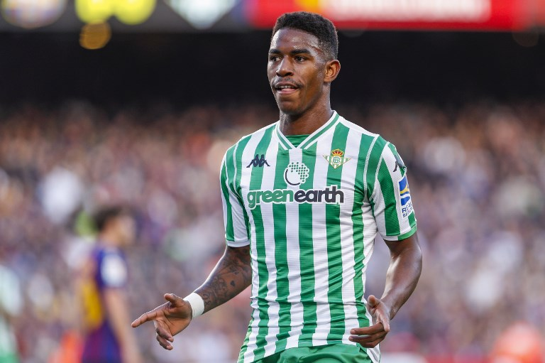 Real Betis Balompie defender Junior Firpo (20) celebrates scoring the goal during the match FC Barcelona against Real Betis Balompie, for the round 12 of the Liga Santander, played at Camp Nou  on 11th November 2018 in Barcelona, Spain. (Photo by Mikel Trigueros/Urbanandsport/NurPhoto)