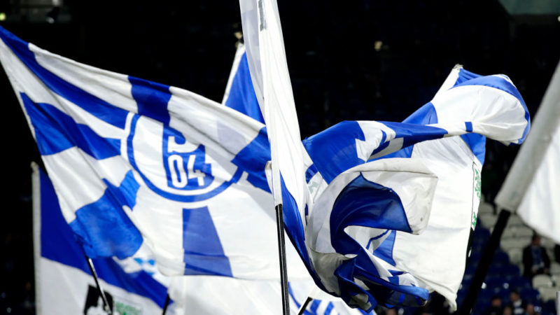 GELSENKIRCHEN, GERMANY - FEBRUARY 20: supporters of Schalke 04 during the UEFA Champions League  match between Schalke 04 v Manchester City at the Veltins Arena on February 20, 2019 in Gelsenkirchen Germany (Photo by Eric Verhoeven/Soccrates/Getty Images)