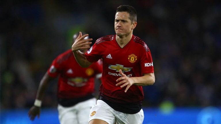Manchester United's Spanish midfielder Ander Herrera celebrates after scoring their second goal during the English Premier League football match between between Cardiff City and Manchester United at Cardiff City Stadium in Cardiff, south Wales on  December 22, 2018. (Photo by Geoff CADDICK / AFP) / RESTRICTED TO EDITORIAL USE. No use with unauthorized audio, video, data, fixture lists, club/league logos or 'live' services. Online in-match use limited to 120 images. An additional 40 images may be used in extra time. No video emulation. Social media in-match use limited to 120 images. An additional 40 images may be used in extra time. No use in betting publications, games or single club/league/player publications. /