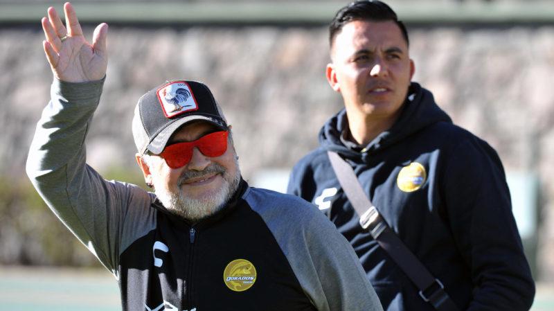 "Argentine coach of Mexican second division football team Dorados, Diego Armando Maradona, arrives to Universitario Alberto ""Chivo"" Cordova Stadium in Toluca, State of Mexico, on January 26, 2019. (Photo by MARIO VAZQUEZ / AFP)"