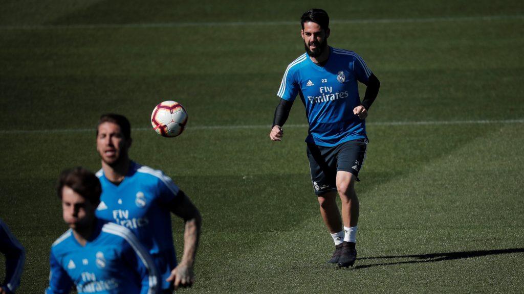 MADRID, SPAIN - MARCH 15: Isco (R) of Real Madrid attends a training session ahead of La Liga match against Celta Vigo at Valdebebas training ground in Madrid, Spain on March 15, 2019. Burak Akbulut / Anadolu Agency