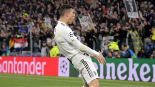TURIN, ITALY - MARCH 12: Cristiano Ronaldo #7 of Juventus FC celebrate a victory at the end of the UEFA Champions League Round of 16 Second Leg match between Juventus FC and Club de Atletico Madrid at Allianz Stadium on March 12, 2019 in Turin, Italy. (Photo by Giuseppe Cottini/NurPhoto)