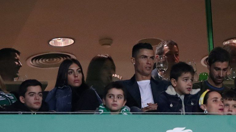 Portugal's and Juventus' forward Cristiano Ronaldo and Georgina Rodriguez attend the Portuguese League football match Sporting CP vs SL Benfica at Alvalade stadium in Lisbon, Portugal on February 3, 2019. ( Photo by Pedro Fiúza/NurPhoto)