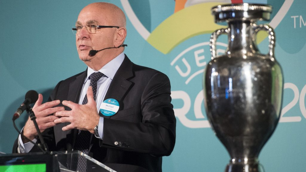 Michael Van Praag pictured during a special ceremony for the launch of the logo of Euro 2020 Brussels, as host city of the 2020 European soccer championships, in Brussels city hall, Wednesday 14 December 2016, with UEFA, Belgian soccer federation KBVB - URBSFA, Brussels Region government and Brussels city. BELGA PHOTO LAURIE DIEFFEMBACQ