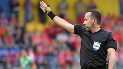 Mezőkövesd, 2018. április 7.Karakó Ferenc játékvezető a labdarúgó OTP Bank Liga 25. fordulójában játszott Diósgyőri VTK - Swietelsky Haladás mérkőzésen a mezőkövesdi stadionban 2018. április 7-én.MTI Fotó: Czeglédi Zsolt