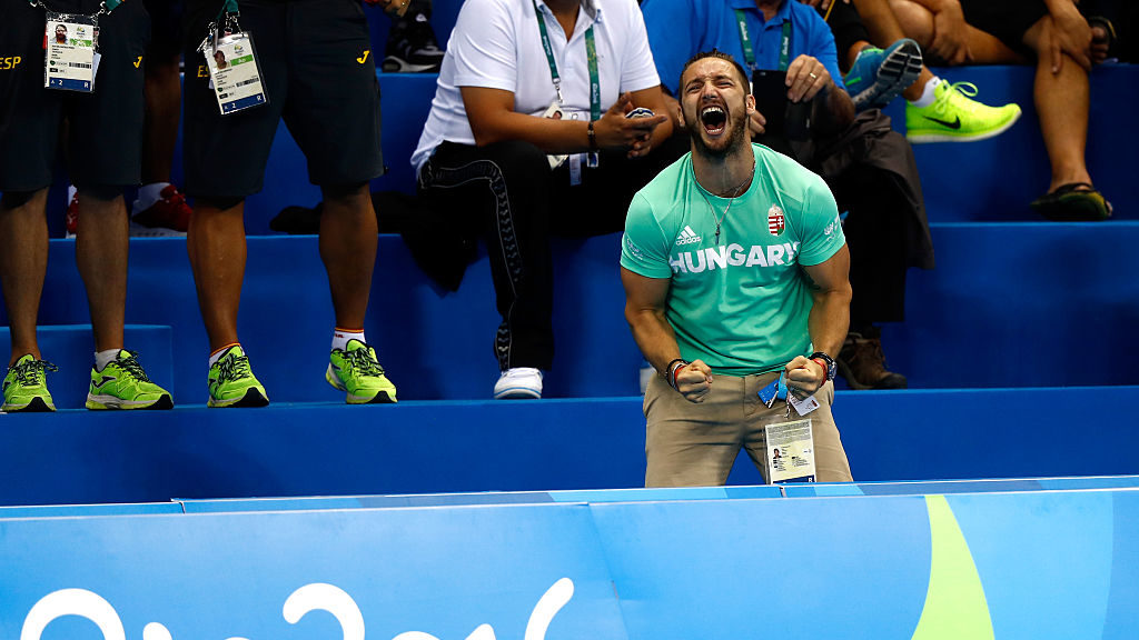 RIO DE JANEIRO, BRAZIL - AUGUST 06:  Shane Tusup, the husband of Katinka Hosszu of Hungary, celebrates as she wins gold and a new world record in the Final of the Women's 400m Individual Medley on Day 1 of the Rio 2016 Olympic Games at the Olympic Aquatics Stadium on August 6, 2016 in Rio de Janeiro, Brazil.  (Photo by Clive Rose/Getty Images)