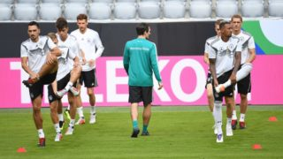 left to right Mats Hummels (Germany), Toni Kroos (Germany), Thilo Kehrer (Germany), Leon Goretzka (Germany), Nicklas Dietrich (Fitness coach), Matthias Ginter (Germany), Jerome Boateng (Germany), Nils Petersen (Germany) , GES / Football / Training of the German national football team in Munich, 05.09.2018 Football / Practice German National Football Team, Munich, September 5, 2018 | usage worldwide