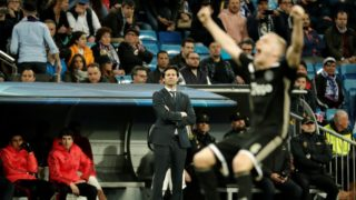 MADRID, SPAIN - MARCH 5: Head coach Santiago Solari (C) of Real Madrid looks on during UEFA Champions League Round of 16 second leg match between Real Madrid and Ajax at Santiago Bernabeu Stadium in Madrid, Spain on 5, 2019. Burak Akbulut / Anadolu Agency