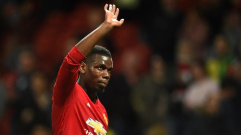 Manchester United's French midfielder Paul Pogba applauds the fans following the English Premier League football match between Manchester United and Manchester City at Old Trafford in Manchester, north west England, on April 24, 2019. - Manchester City won the match 2-0. (Photo by Oli SCARFF / AFP) / RESTRICTED TO EDITORIAL USE. No use with unauthorized audio, video, data, fixture lists, club/league logos or 'live' services. Online in-match use limited to 120 images. An additional 40 images may be used in extra time. No video emulation. Social media in-match use limited to 120 images. An additional 40 images may be used in extra time. No use in betting publications, games or single club/league/player publications. /