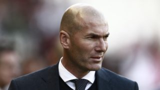 Real Madrid's French coach Zinedine Zidane attends the Spanish League football match between Rayo Vallecano and Real Madrid at the Vallecas Stadium in the Madrid district of Puente de Vallecas on April 28, 2019. (Photo by Benjamin CREMEL / AFP)
