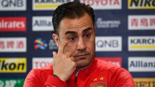 Head coach Fabio Cannavaro of China's Guangzhou Evergrande Taobao attends a press conference before the group F match against Australia's Melbourne Victory FC during the 2019 AFC Champions League in Melbourne, Australia, 22 April 2019.