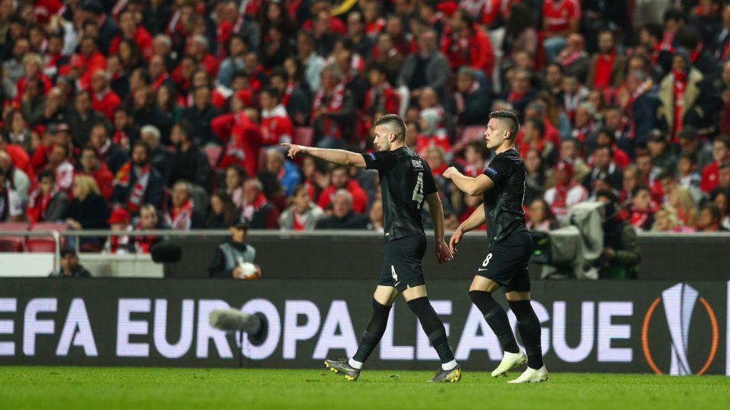 firo: 11.04.2019, football, football: UEFA, EUROPA LEAGUE, EL, season 2018/2019 quarter-finals, first leg, Benfica - Eintracht Frankfurt jubilation Luka Jovic of Eintracht Frankfurt | usage worldwide