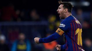 Lionel Messi of Barcelona celebrates the goal of his team  during the La Liga match between Villarreal CF and FC Barcelona at Estadio de la Ceramica on April 2, 2019 in Villareal, Spain (Photo by Jose Breton/NurPhoto)