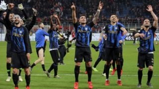 Lautaro Martinez #10 of FC Internazionale Milano celebrate a victory at the end of the serie A match between AC Milan and FC Internazionale Milano at Stadio Giuseppe Meazza on March 17, 2019 in Milan, Italy. (Photo by Giuseppe Cottini/NurPhoto)