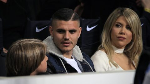 Mauro Icardi #9 of FC Internazionale Milano and Wanda Nara attends the serie A match between FC Internazionale and SS Lazio at Stadio Giuseppe Meazza on March 31, 2019 in Milan, Italy. (Photo by Giuseppe Cottini/NurPhoto)