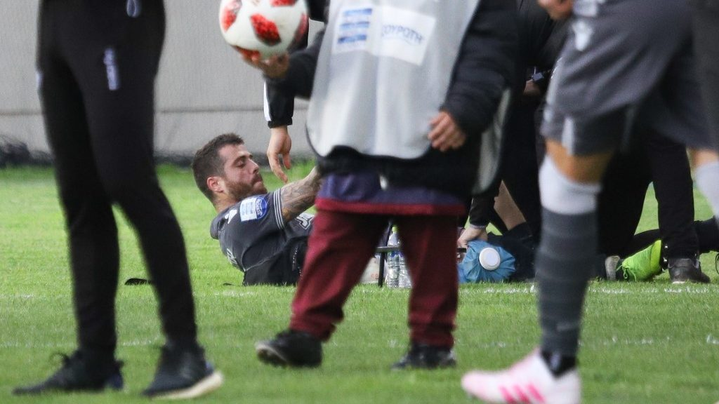 Vieirinha #20, captain of PAOK who got heavily injured during the game. F.C. AEL Athlitiki Enosi Larissa Football Club versus FC PAOK Thessaloniki 1-1 for the 28th round of Superleague Greece season 2018-2019, the main Greek championship at AEL FC Arena. PAOK scored at 55' with Dimitris Pelkas #10 and Larisa scored back at 64' with Nikola Jakimovski #13, postponing PAOK's champion title, for the first time after 1985. PAOK is undefeated this season in the superleague setting a historical record. (Photo by Nicolas Economou/NurPhoto)