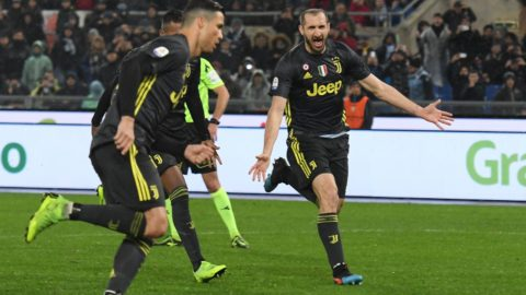 Cristiano Ronaldo celebrates with Giorgio Chiellini after scoring goal 1-2 during the Italian Serie A football match between S.S. Lazio and F.C Juventus at the Olympic Stadium in Rome, on january 27, 2019. (Photo by Silvia Lore/NurPhoto)