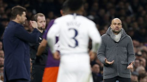 Manchester City's Spanish manager Pep Guardiola (R) reacts during the UEFA Champions League quarter-final first leg football match between Tottenham Hotspur and Manchester City at the Tottenham Hotspur Stadium in north London, on April 9, 2019. (Photo by Ian KINGTON / IKIMAGES / AFP)