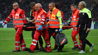 MILAN, ITALY - APRIL 02:  Valon Behrami of Udinese leaves the pitch on a stretcher during the Serie A match between AC Milan and Udinese at Stadio Giuseppe Meazza on April 2, 2019 in Milan, Italy.  (Photo by Marco Luzzani/Getty Images)