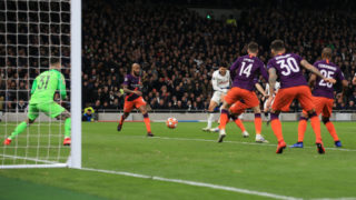 LONDON, ENGLAND - APRIL 09: Son Heung-min of Tottenham Hotspur scores their 1st goal during the UEFA Champions League Quarter Final first leg match between Tottenham Hotspur and Manchester City at Tottenham Hotspur Stadium on April 9, 2019 in London, England. (Photo by Marc Atkins/Getty Images)