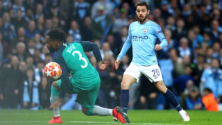 MANCHESTER, ENGLAND - APRIL 17: Bernardo Silva of Manchester City scores his teams second goal during the UEFA Champions League Quarter Final second leg match between Manchester City and Tottenham Hotspur at Etihad Campus on April 17, 2019 in Manchester, England. (Photo by Chloe Knott - Danehouse/Getty Images)