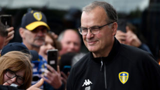 LEEDS, ENGLAND - APRIL 28: Manager of Leeds United Marcelo Bielsa greets fans as he arrives at the stadium prior to the Sky Bet Championship match between Leeds United and Aston Villa at Elland Road on April 28, 2019 in Leeds, England. (Photo by George Wood/Getty Images)